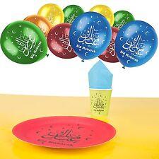 Eid Mubarak Tableware - Cups Plates Napkins, Tablecloth + Multicolour Balloons