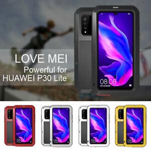 For Huawei P30Lite Waterproof Shockproof Metal Aluminum Gorilla Glass Case Cover