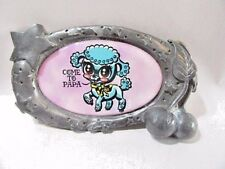 """LARGE PEWTER BELT BUCKLE VINYL PICTURE POODLE """"COME TO PAPA"""" CELESTIAL CHERRIES"""