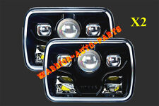 """7x6"""" LED Projector Headlights Sealed Beam Headlamps DOT Approved Black (2 Lamps)"""