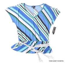 A. Byer Top Junior's  Large Slit Shoulder Belted Top V-Neck Shirt