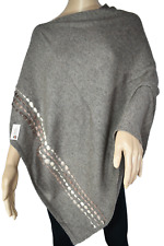 NHZ~Exclusive Cashmere~Boat Neck Poncho~Brown Color~Cashmere~Handmade in Nepal