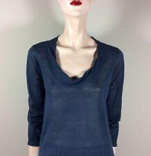 DKNY Damen Pullover S 36 Blau Reines Leinen A Form Oberteil Top Casual Designer
