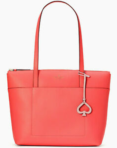 NWT Kate Spade Patrice Orange Textured Leather Large Tote WKRU6671 $329 Ret FS