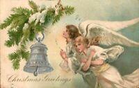 Antique Postcard 'Christmas Greetings' Angels Lg Wings Silver Bell UnDv Emb 1906