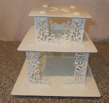 Vintage Wilton Wedding Cake Lot=11 pieces =3 Square Plates & 8 Pillars
