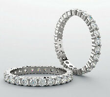 1.75 carat Brilliant Round DIAMOND ETERNITY RING 14k White Gold Band VS/SI1 sz 9