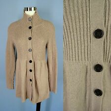 BANANA REPUBLIC Mushroom Brown Wool 4% Cashmere Long Ribbed Cardigan Sweater S