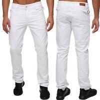 Herren Slim Fit Jeans Hose weiß Five-Pocket Style buckle Gerades Bein