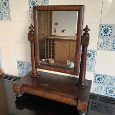 Antique Victorian Mahogany Veneered Turned Barrel Fronted Table Toilet Mirror