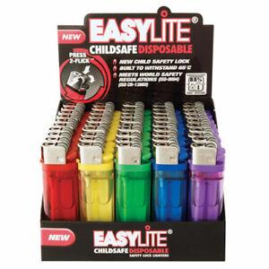 EASYLITE FLINT 1- 50 DISPOSABLE LIGHTERS ADJUSTABLE FLAME CHILD SAFETY