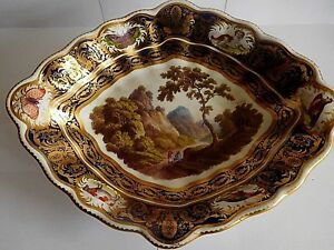 ANTIQUE DERBY NAMED VIEW DISH WITH A BULL A DOG TWO BIRDS AND BUTTERFLY BORDER