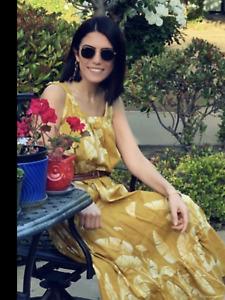 BNWT H&M Bloggers Fave Palm Leaf Beach Yellow Summer Midi Dress Size UK 6