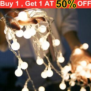 80 LED Solar Garden String Fairy Lights Wedding Party Festoon Ball Bulbs Lamp UK