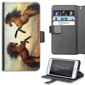 Two Horse Rear Phone Case, PU Leather Wallet Flip Case, Cover For Samsung, Apple