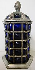 """9"""" Coblat Blue Blown Bubble Glass Silverplated Metal Lidded Apothecary Jar Urn"""