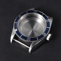 41mm Blue Bezel Insert SS Watch Case Sapphire Glass Fit ETA 2824 2836 Movement