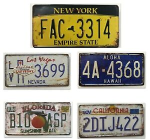 AMERICAN USA ANTIQUE/OLD LOOK LICENCE NUMBER PLATES NY LAS VEGAS  CALIFORNIA FL