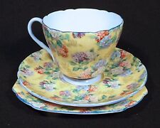 "1945+ SUPERB SHELLEY CHINTZ RICHMOND TRIO ""SUMMER GLORY"" BLUE TRIM PAT NO.13455."