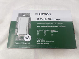 Lutron DVCL-153P-WH-3 Diva C.L Dimmer - 3 Pack - White