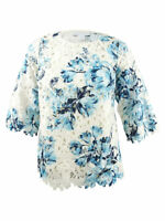 Charter Club Women's Plus Size Floral-Print Lace Top