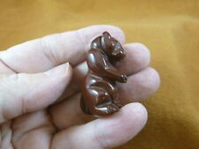(Y-Ott-St-554) Red Jasper baby Sea Otter gemstone carving figurine gem Otters