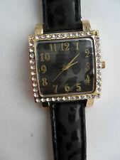 Reloj de Pulsera reloj de mujer empedrado impresión de Sombra Negro Correa de Cuero Fecha Cuarzo