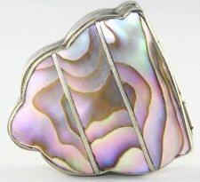 VINTAGE MEXICAN STERLING SILVER ABALONE SHELL PILL BOX