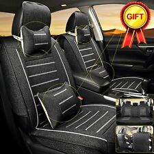 5-Seats Car Linen Seats Cover Cushion Front & Rear w/Neck Lumbar Pillows Size M