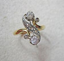 Bague ancienne diamants, or 18K, toi et moi, diamants 0.41 ct, 1900.