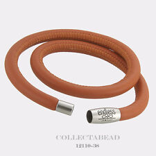 """Authentic Endless Stainless Steel Coral Double Leather Bracelet 7.5"""" 12110-38"""