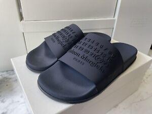 MAISON MARGIELA SS20 Navy Blue Tonal Logo Slide Athletic Sandals 43/10 NIB!