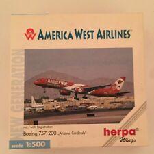 """Herpa Wings America West Airlines Boeing 757-200 """"Arizona Cardinals"""" 1/500"""
