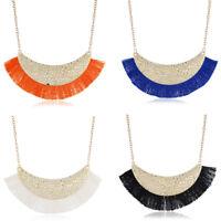 Fashion Women Chain Jewelry Tassel Pendant Statement Chunky Bib Necklace Choker