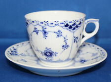 Royal Copenhagen Blue Fluted Half Lace Cup & Saucer #756 1st Quality
