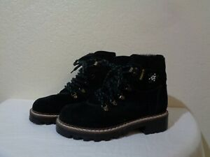 BLONDO MADE IN CANADA BLACK SUEDE & BLACK SHEARLING LINED HIKING STYLE BOOTS 7B