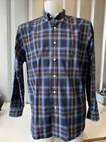 NAUTICA Mens Blue Red Check Long Sleeve Shirt Size Large - 80s Two Ply Cotton
