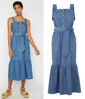 Warehouse NEW Womens Tiered Hem Midi Denim Cotton Dress in Blue Sizes 6 to 18
