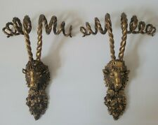 Vintage Brass Ormolu Rams Head Goat Hardware Pull Knob Handle Finial Gold