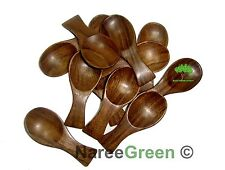 NEW TEA SPOON WOODEN SUGAR SALT CREAM WOOD UTENSIL SMALL BROWN 10 Pieces