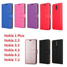 Para Nokia 1 2.2 3.2 Teléfono Móvil Plus Cartera de Cuero Funda Cubierta de libro Abatible Petaca