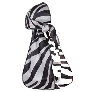 Zebra Print Du Rag Black & White Stripe Soft Velvet Doo rag 1 Piece Durag Scarf