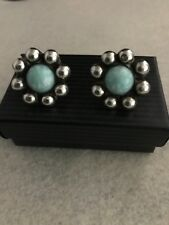 Earrings w/8 Beads & Howlite Stone Vintage Mexican Sterling Silver 50's Flower