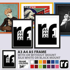 A3 A4 A5 Frame Poster Art Certificate Black White Colours Wood PICTURE FRAMES