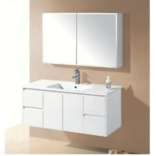New White 1200 Ceramic Thin Top Finger Pull Hidden Handles Wall Hung Vanity