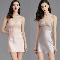 Lady Mini Slips Dress Satin Sexy Nightdress Deep V-Neck Pajamas Sleepwear Casual