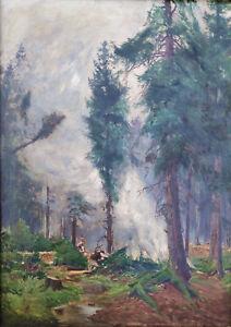 Hoffmann-Fallersleben (1855 Weimar - 1927 Berlin)  Köhler im Wald – Schreiberhau