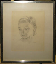 Robert Högfeldt Portrait of Young Woman Listed Swedish Artist and Illustrator