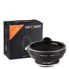 Neues AngebotK&F Concept Objektivadapter mit Stativ für Pentax 67 Objektiv auf Nikon F Kamera
