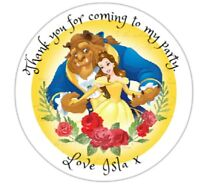 24 x 4cm Personalised Stickers Round Birthday Beauty & The Beast Party Labels